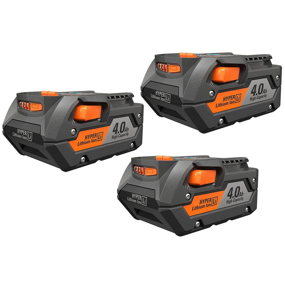 RIDGID 18V 4.0Ah HYPER Lithium-Ion Battery Pack (3-Pack)