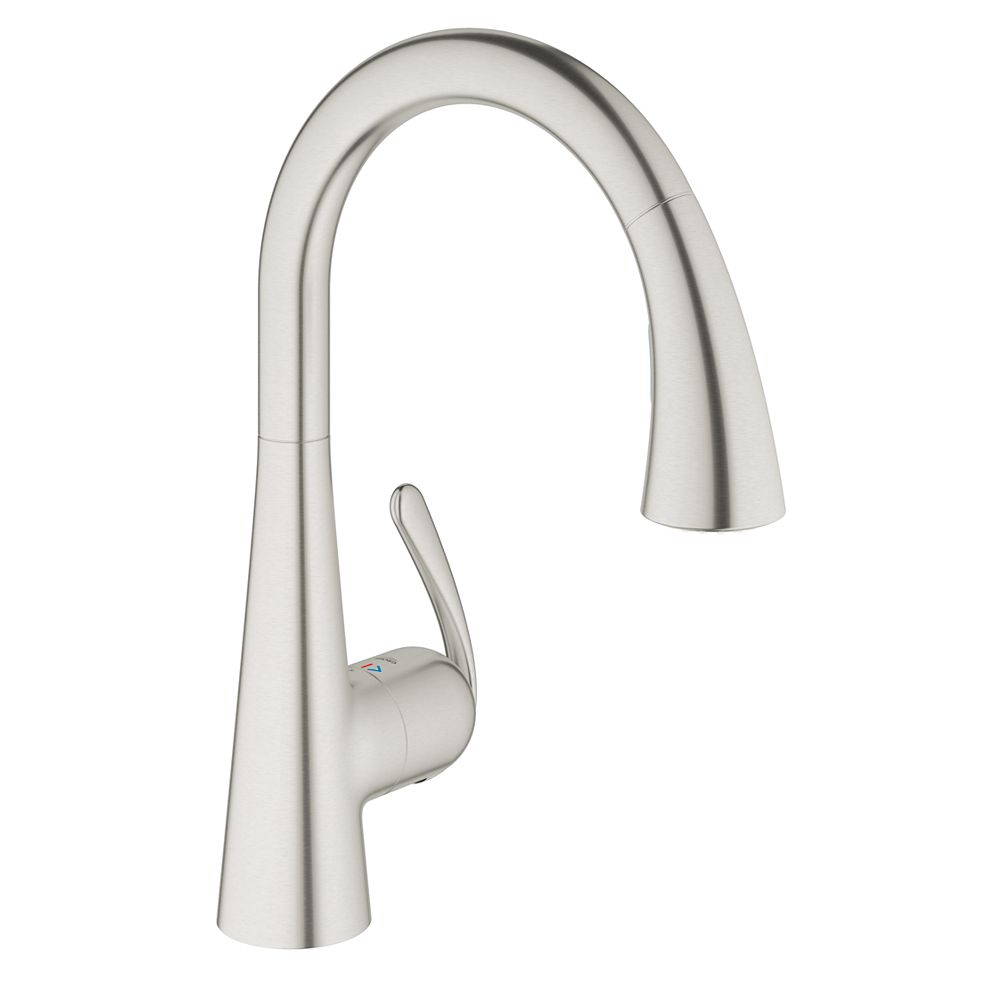 GROHE Ladylux³ Cafe Single-Handle Pull-Down Sprayer Kitchen Faucet with Dual Spray in RealSteel