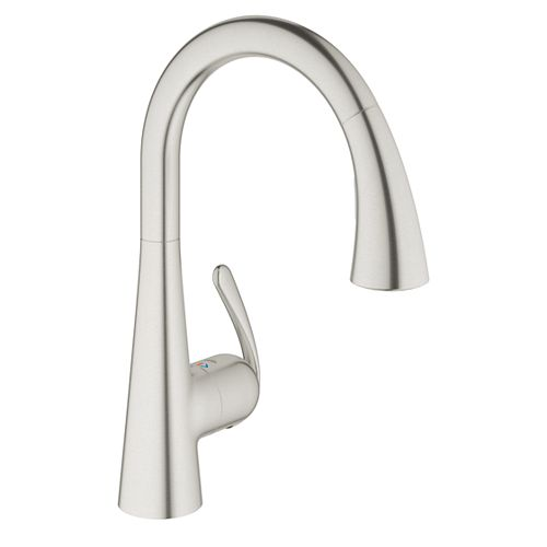 Ladylux³ Cafe Single-Handle Pull-Down Sprayer Kitchen Faucet with Dual Spray in RealSteel