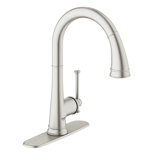 GROHE Joliette Single-Handle Dual Spray Pull Down Kitchen Faucet in SuperSteel Infinity Finish