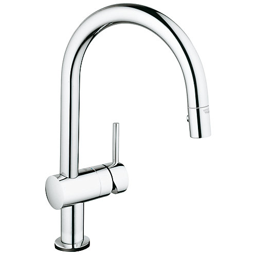 Minta Single-Handle Pull-Down Sprayer Kitchen Faucet in GROHE StarLight Chrome finish