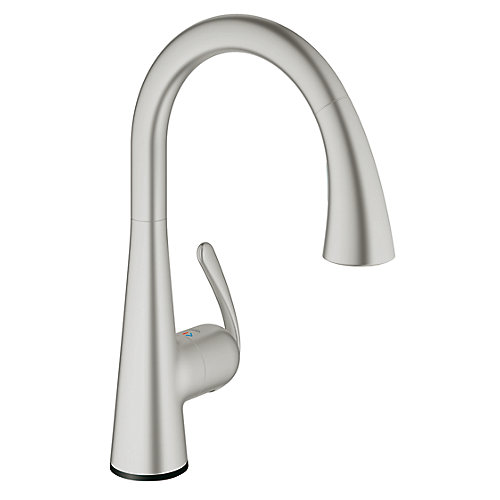 LadyLux Cafe Touch Single-Handle Pull-Down Sprayer Kitchen Faucet in SuperSteel InfinityFinish