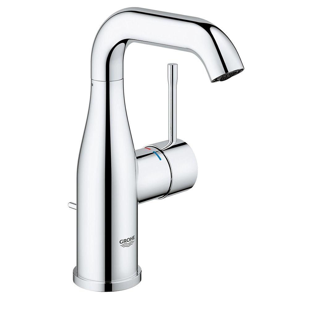 Grohe Essence New 4 Inch Centerset Single Handle 1 2 Gpm Bathroom Faucet In Starlight Chro The Home Depot Canada