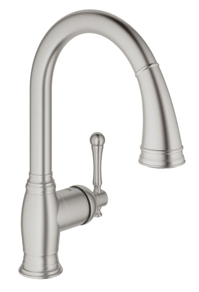 Bridgeford Single-Handle Pull-Down Sprayer Kitchen Faucet in SuperSteel InfinityFinish