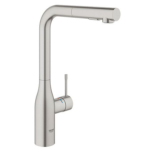 GROHE Essence New Single-Handle Pull-Out Sprayer Kitchen Faucet with Dual Spray in SuperSteel Infinity