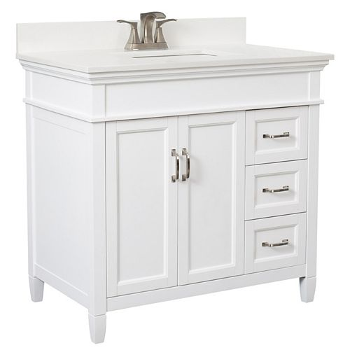 Foremost Ashburn 36 inch Vanity Combo in White with Lily White Engineered Stone Top