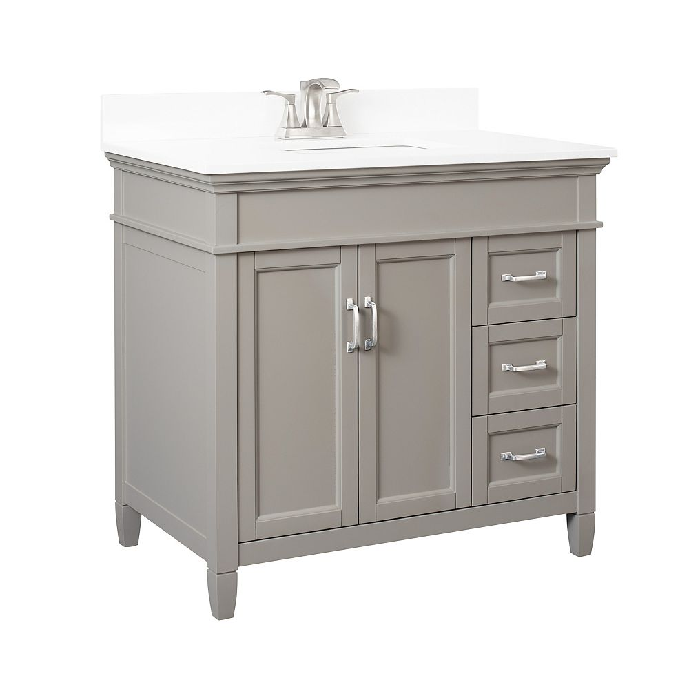 Foremost Ashburn 36 inch Vanity Combo in Grey with Lily White Engineered Stone Top