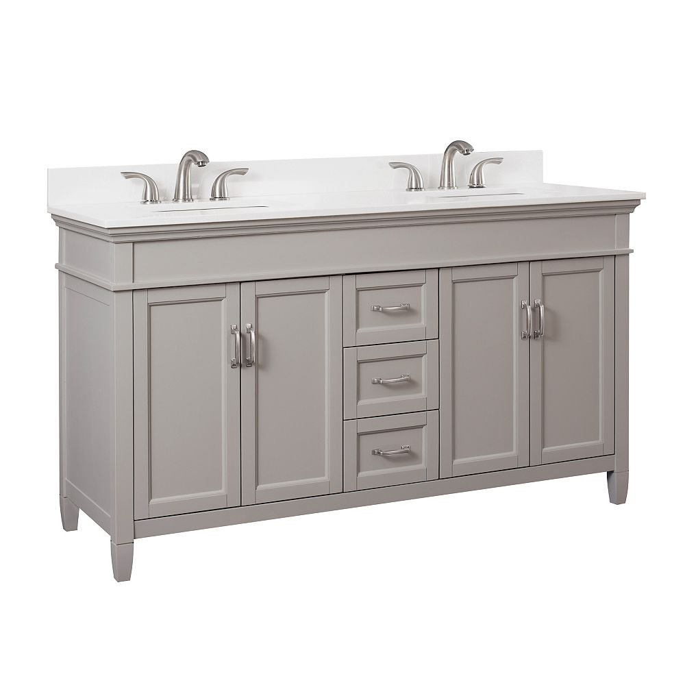 Foremost Ashburn 60 inch Vanity Combo in Grey with Lily White Engineered Stone Top