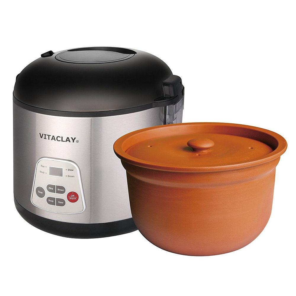 VitaClay 8 Cup 2-in-1 Rice N' Slow Cooker with High Fired Clay Pot