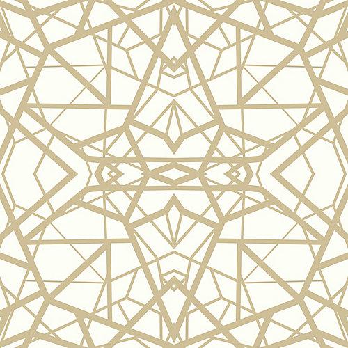 Shatter Geometric White/Gold Peel & Stick Wallpaper