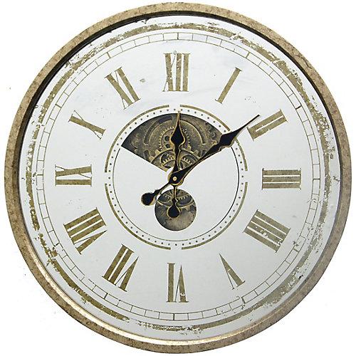 24 po D en miroir horloge, horloge décorative avec face en miroir, prêt à accrocher