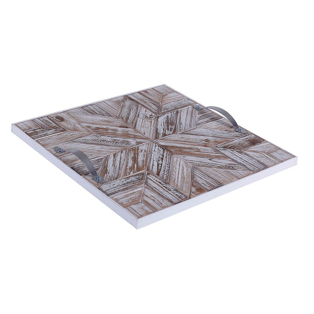 Art Maison Canada 14.5x14.5x1.5 STAR, Wooden Tray with Pattern