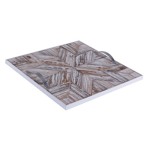 14.5x14.5x1.5 STAR, Wooden Tray with Pattern