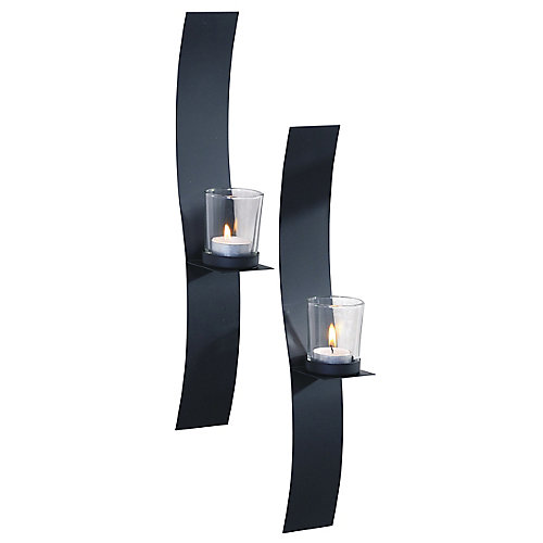 2x15 SLEEK, Metal with Glass Wall Sconce (Set of 2)
