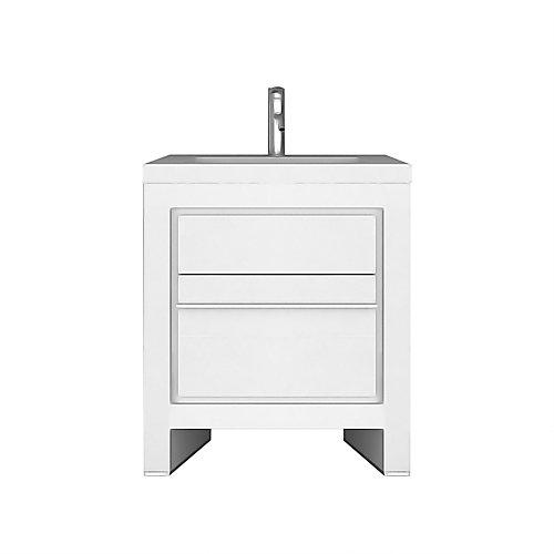 Sloan 28 inch Single Freestanding Modern White Bathroom Vanity with Basin