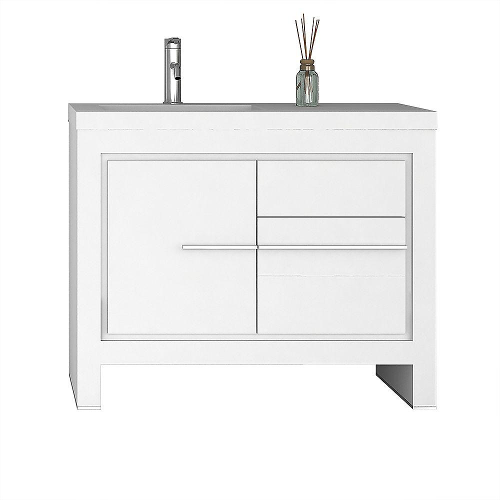 Jade Bath Sloan 40 Inch Single Freestanding Modern White Bathroom Vanity With Basin The Home Depot Canada