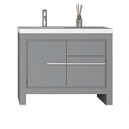 Sloan 40 inch Single Freestanding Modern Grey Bathroom Vanity with Basin