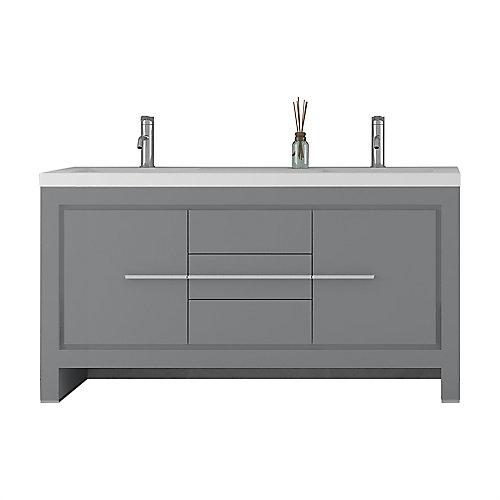 Sloan 60 po Meuble-lavabo double autoportant moderne avec lavabo, coloris gris