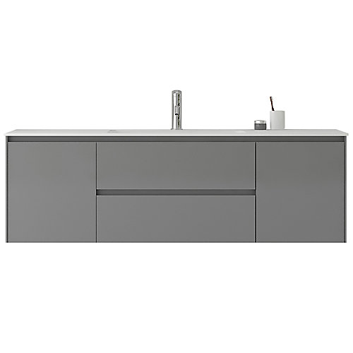 Morgan 63 inch Single Wall-Mounted Modern Grey Bathroom Vanity with Basin