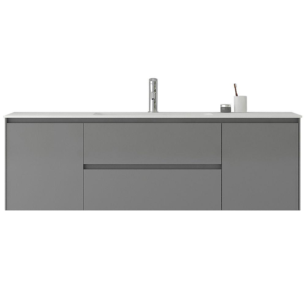 Jade Bath Morgan 63 Inch Single Wall Mounted Modern Grey Bathroom Vanity With Basin The Home Depot Canada