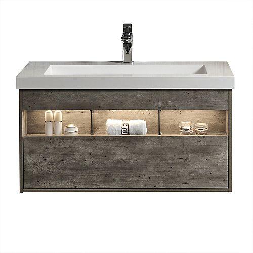 Harlie 40 inch Single Wall-Mounted Modern Bathroom Vanity