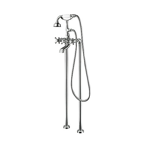 Century II Chrome Antique Style Floor-Mounted Tub Filler with Hand Shower and Easy Install Box