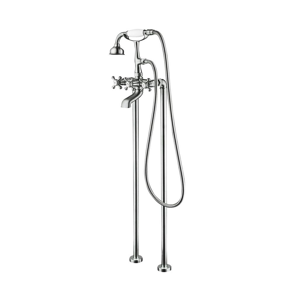 Jade Bath Century II Chrome Antique Style Floor-Mounted Tub Filler with Hand Shower and Easy Install Box