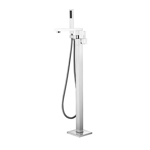 Kimmi Chrome Floor-Mounted Tub Filler with Hand Shower and Easy Install Box