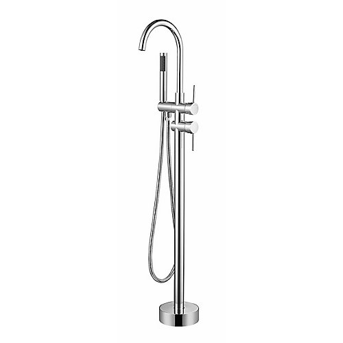 Hally Chrome Floor-Mounted Tub Filler with Hand Shower and Easy Install Box