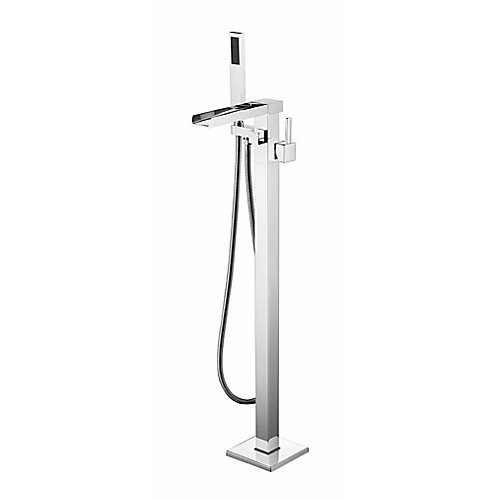 Vivian Chrome Floor-Mounted Tub Filler with Hand Shower and Easy Install Box
