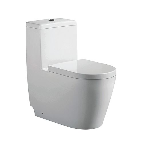 Giselle 1-Piece 3.3/4.8 LPF Dual Top-Mount Flush Elongated Comfort Height Toilet in White