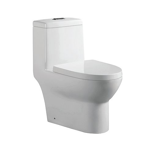 Arielle 1-Piece 0.88/1.2 GPF Dual Top-Mount Flush Elongated Toilet in White