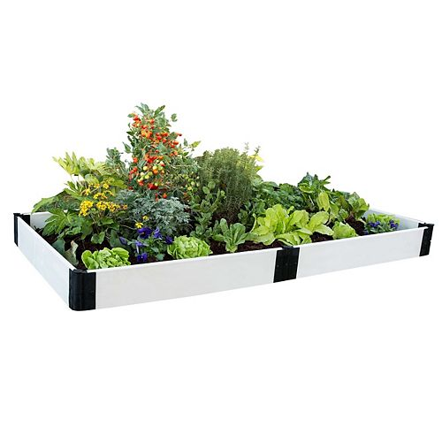 Jardinière surélevée, 4 pi x 8 pi x 8 po, 1 po de profondeur, blanc classique