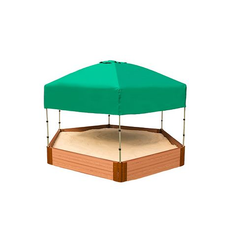 Tool-Free Classic Sienna 7ft. x  8ft. x 11 inch Composite Hexagon Sandbox Kit with Telescoping Canopy/Cover - 2 inch profile