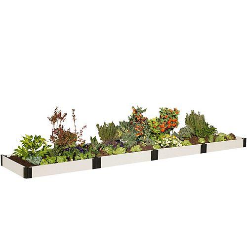 Lit de jardin classique surélevé blanc 4 ft.x 16 ft. x 8 po- 1 po profile
