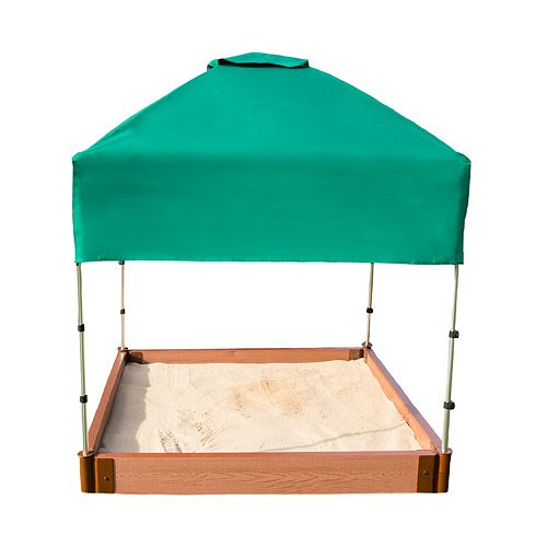 Tool-Free Classic Sienna 4ft. x 4ft. x  5.5 inch Composite Square Sandbox Kit with Telescoping Canopy/Cover - 2 inch profile