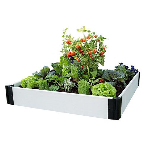Lit de jardin classique surélevé blanc 4 ft.x 4 ft. x 8 po- 1 po profile