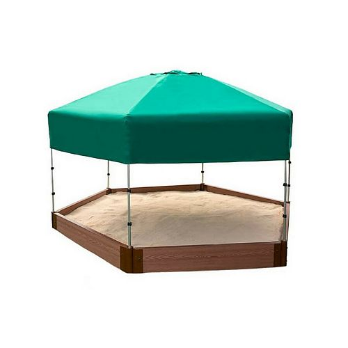 Tool-Free Classic Sienna 7ft. x  8ft. x 5.5  inch Composite Hexagon Sandbox Kit with Telescoping Canopy/Cover - 2 inch profile