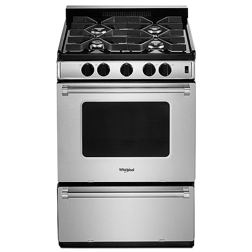 24-inch W 3.0 cu. ft. Gas Range with Sealed Burners in Stainless Steel