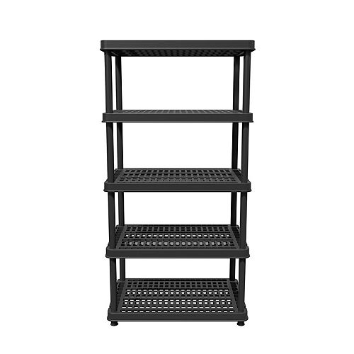 72-inch H x 36-inch W x 24-inch D 5-Shelf Black Resin Shelving Unit
