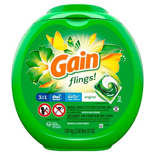 Gain flings! plus Aroma Boost Laundry Detergent Pacs, Original, 72 Count
