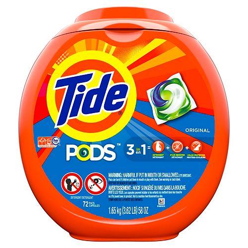 Tide PODS Liquid Laundry Detergent Pacs, Original, 72 count