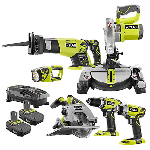 18V ONE+ Lithium-Ion Cordless Combo Kit (6-Tool) with (2) 2.0 Ah Batteries and Charger