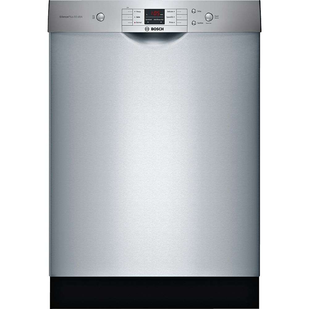 Bosch 100 Series - 24 inch Dishwasher with Recessed Handle - 50 dBA - Anti-Fingerprint Stainless Steel