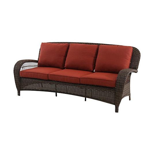 Canapé d'extérieur Beacon Park à coussins orange, osier