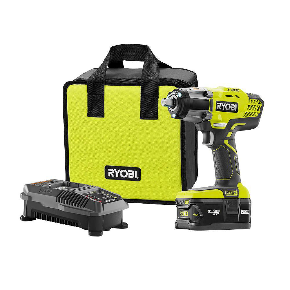 Ryobi 18V ONE+ Lithium-Ion Cordless 3-Speed 1/2 inch Impact Wrench Kit with (1) 4.0 Ah Battery P1833