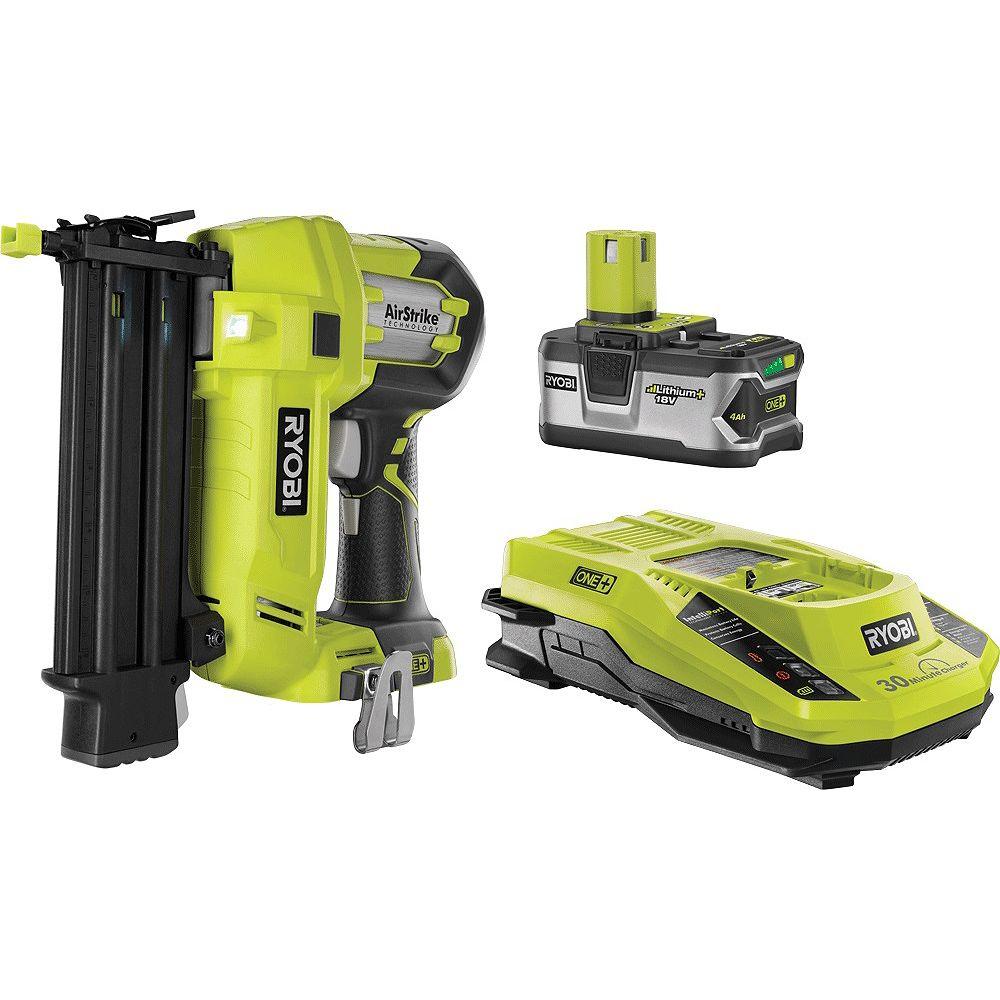 RYOBI 18V ONE+Brad Nailer Kit with 4 Ah Battery