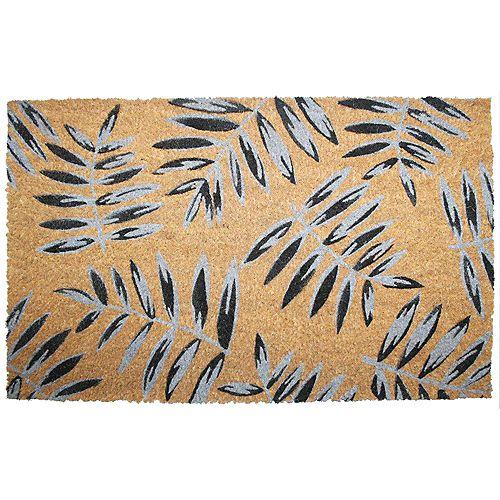 Paillasson en fibre de coco, 18 po x 30 po, feulles de palmier, brun, gris et noir