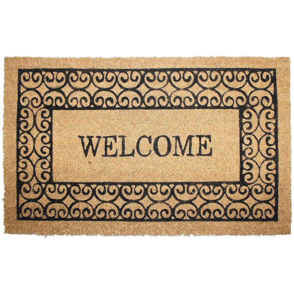 """Home Decorators Collection Paillasson en fibre de coco, 18 po x 30 po, """"Welcome"""", brun et noir"""