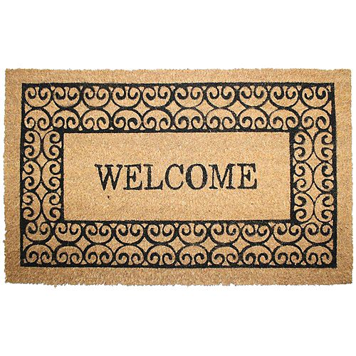 "Home Decorators Collection HDC 18""x30"" Welcome Scroll Coir Mat"